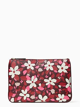 케이트 스페이드 Kate Spade jackson forest floral large zip pouch,PINK MULTI